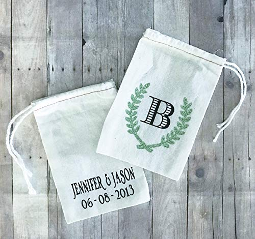 Rustic Monogrammed Leaf Drawstring Cotton Party Favor Garden Seed Bags 4x6 Set of 10 (Monogrammed Petit Fours)