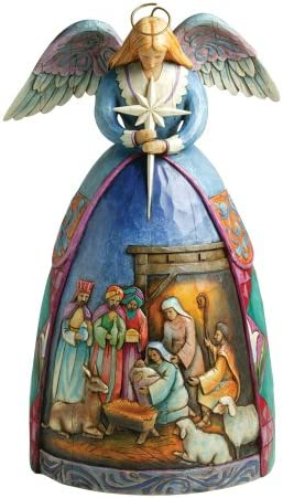 Jim Shore Heartwood Creek Angel with Nativity Gown Stone Resin Figurine, 10.5