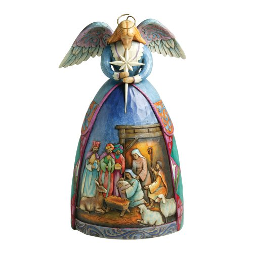 Amazon Com Jim Shore Heartwood Creek Angel With Nativity Gown Stone Resin Figurine 10 5 Jim Shore Home Kitchen