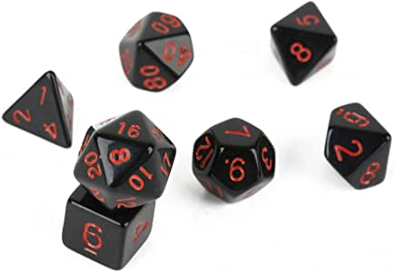 Lorsoul 7pcs múltiples Caras Dados de acrílico Negro Juegos de Mesa tintos Herramientas Números geométrica Doble Color Kit cuadritos: Amazon.es: Hogar