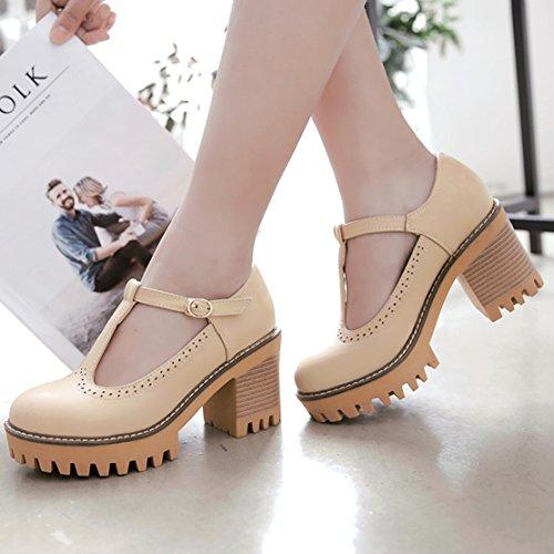 AIYOUMEI Damen T-spangen Chunky Heel Knöchelriemchen Pumps mit 8cm Absatz Blockabsatz Bequem Schuhe Beige