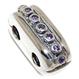 Pro Jewelry 925 Solid Sterling Silver Band of Purple Crystals Double Clip Lock Charm Bead
