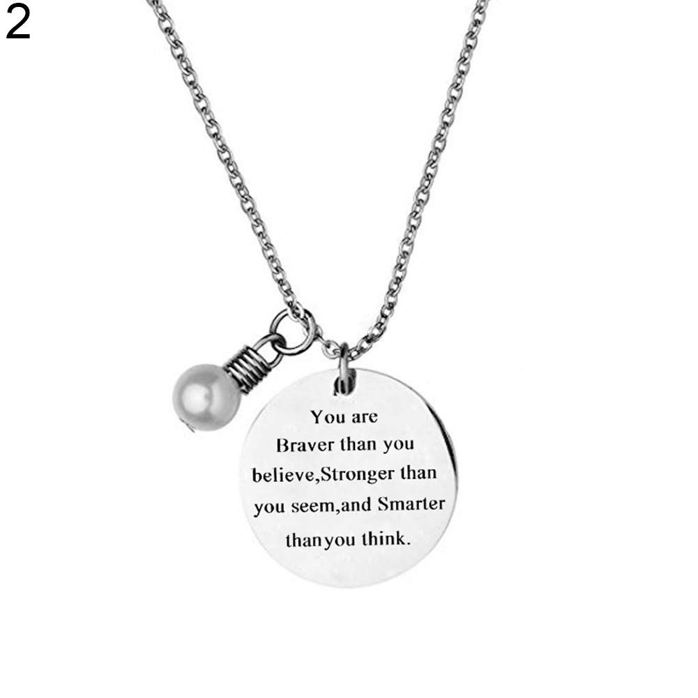 ywbtuechars 1Pc Fashion Friendship Jewelry Gift Fake Pearl Letter Pendant Round Tag Necklace - 2#