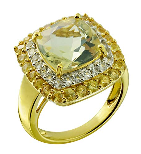 RB Gems Sterling Silver 925 Statement Ring Genuine Gemstone Cushion 10 mm with Rhodium-Plated Finish (8, Peruvian-Opal)