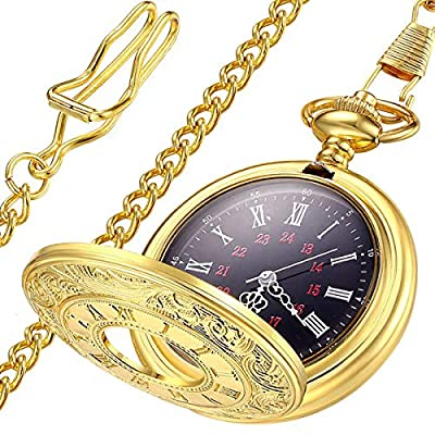 LYMFHCH Classic Smooth Vintage Gold Quartz Pocket Watch, Roman Numerals Scale Mens Womens Watch with Chain