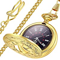 LYMFHCH Classic Smooth Vintage Gold Quartz Pocket Watch, Roman Numerals Scale Mens Womens Watch with Chain (Gold)