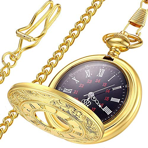 (LYMFHCH Vintage Roman Numerals Quartz Pocket Watch, Men Womens Watch with Chain As Xmas Fathers Day Gift)