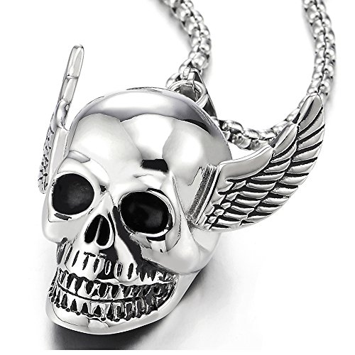 kull with Angel Wing Stainless Steel Pendant Necklace for Men Women, Polished, 30 Inch Wheat Chain ()