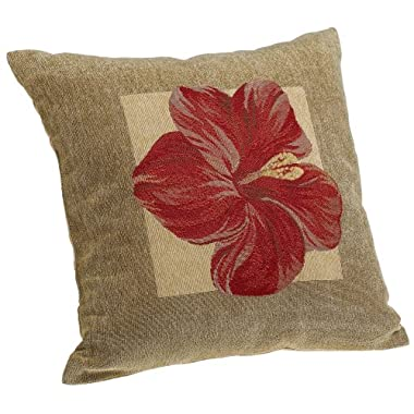 Brentwood Panama Jacquard Chenille 18-by-18-inch Knife Edge Decorative Pillow, Red Hibiscus