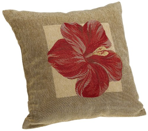Brentwood Panama Jacquard Chenille 18-by-18-inch Knife Edge Decorative Pillow, Red Hibiscus ()