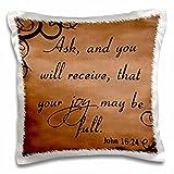 3D Rose Verse John 16-24 Brown Background Bible Christian Inspirational Saying Design Pillowcase, 16'' x 16''