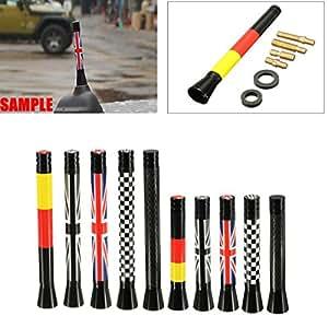 Vivona NO.: 001 7.7cm/10.7cm Union Jack UK GER Flag Carbon Fiber Grid Car Antenna