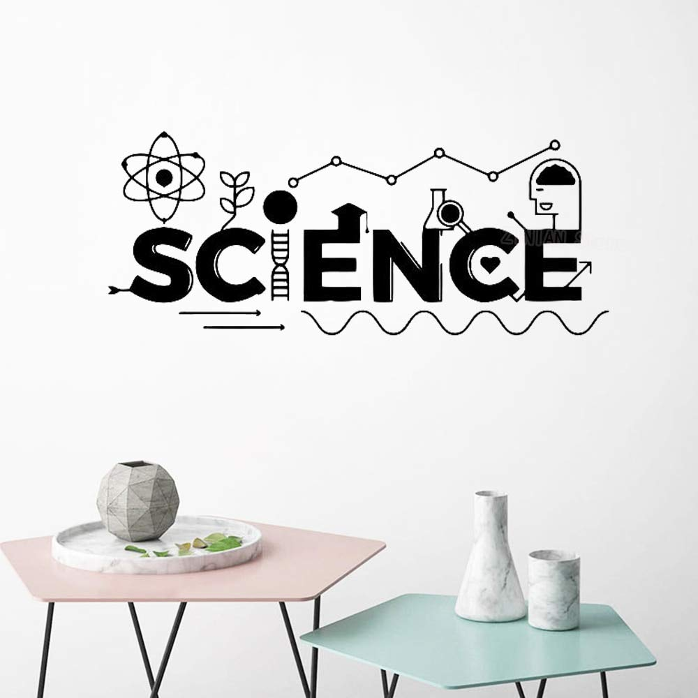 hllhpc Palabras de la Ciencia Vinilo Etiqueta de La Pared Átomo ...