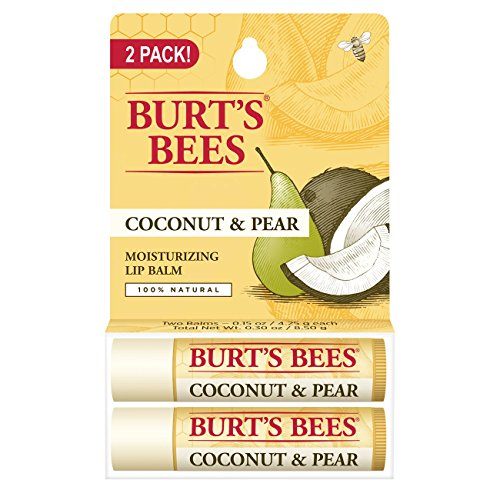 Burt's Bees 100% Natural Moisturizing Lip Balm, Coconut & Pear with Beeswax & Fruit Extracts – 2 Tubes