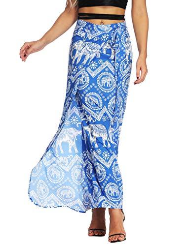 Sitelan Women Boho Maxi Skirt Bohemian Floral Tie Up Waist Summer Beach Wrap Cover Up Dress - Blend Wrap Skirt