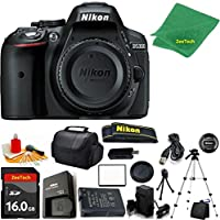 Nikon D5300 DSLR Camera Body Only (Black) + 16 GB Memory Card + Case + Reader + Full Size Tripod + 6PC Starter set + Microfiber Cloth + Extra Charger - International Version