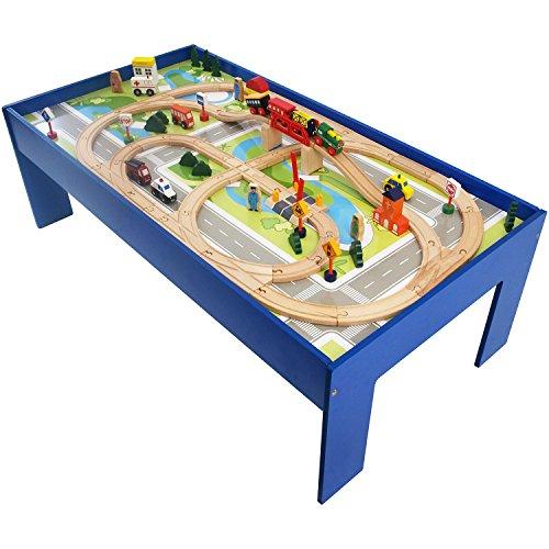 Holzeisenbahn Set inkl. Tisch und Zubehör für Kinder Holz Eisenbahn Schienenbahn Holzschienenbahn Kinderspielzeug Spielzeugeisenbahn Spielbahn Holzspielzeug