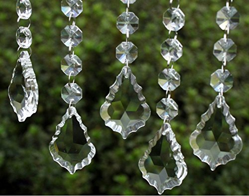 HoHoDeal 30pcs Clear Crystal Maple Leaf Prisms Wedding Garland Chandelier Hanging Pandent Party Decoration