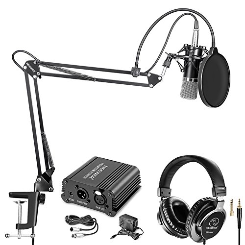 Price comparison product image Neewer NW-700 Pro Condenser Microphone and Monitor Headphones Kit with 48V Phantom Power Supply,  NW-35 Boom Scissor Arm Stand,  Shock Mount and Pop Filter for Home Studio Sound Recording(Black)