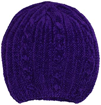 Isotoner Women's Chenille Pull On Hat, Purple, One Size