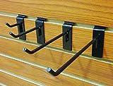 40 Black Assorted Slatwall Metal Hooks, Multi Size Hook Bundle - 2'', 4'', 6'' & 8'' - 10 Each