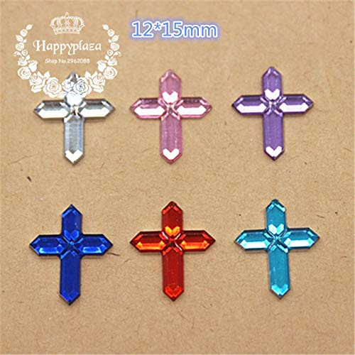 ZAMTAC 200pcs Mix Colors 1215mm Acrylic Cross Charm Flatback Cabochon Embellishment Accessories DIY Craft -