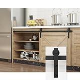 SMARTSTANDARD SDH0050MINIJ1BK Mini Sliding Barn Door Hardware Kit for Cabinet TV Stand, Black, Simple and Easy to Install/Cabinet Not Included