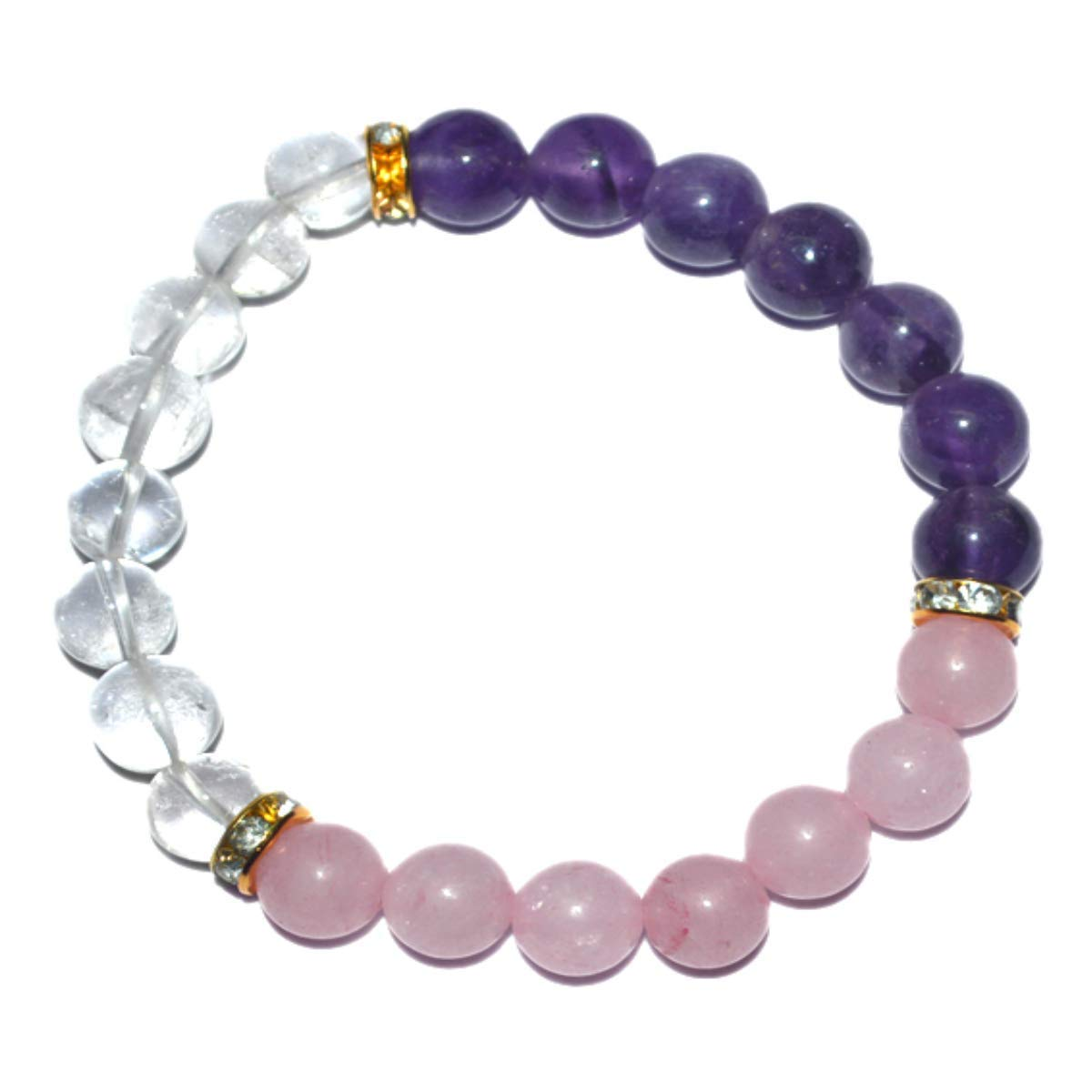 Gemstone Bracelet – 8mm Bead Anxiety Insomnia Relief Natural Stone Rose Quartz Amethyst Crystal Bracelet for – Chakra Healing Reiki Yoga Mediation Elastic Rope Bangle Beaded Bracelets