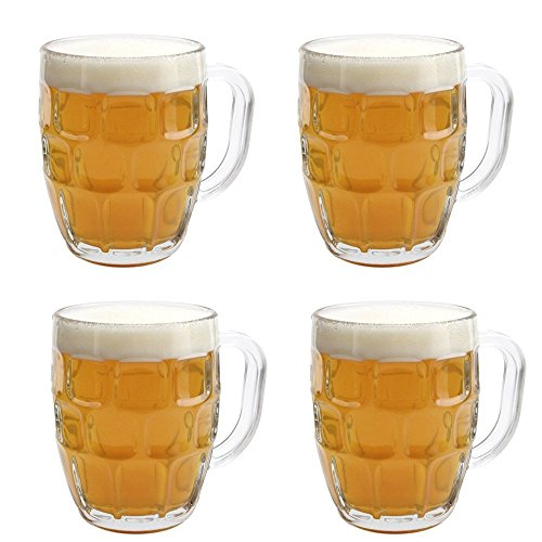 Draft by Home Essentials Beer Mug, Set of 4, Clear, 22 Ounce