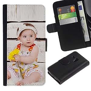 For Samsung Galaxy S3 MINI NOT REGULAR! I8190 I8190N,S-type® Wonder Cute Kid Mother Love - Dibujo PU billetera de cuero Funda Case Caso de la piel de la bolsa protectora