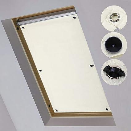 ikinlo rideau occultant ck04 pour fenetres de toit velux store occultant thermiques avec ventouse protection solaire beige 38x75cm