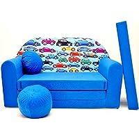 Pro Cosmo - Sofá Cama para niños C21 con puf, reposapiés y Almohada, Tela Multicolor, 168 x 98 x 60 cm