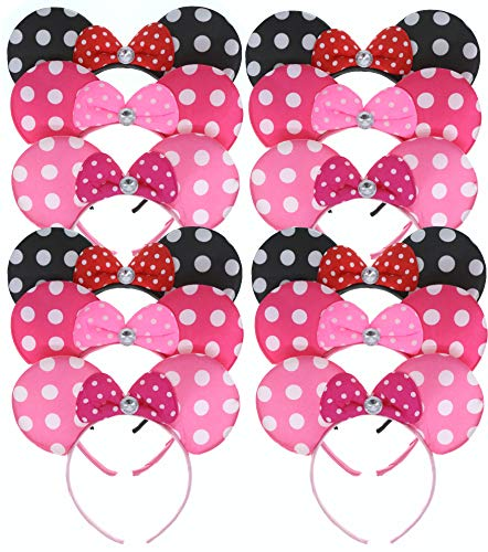 RufnTop Mickey and Minnie Mouse Glossy Bow Ears Headband(GLSY Mix Set of 12)]()