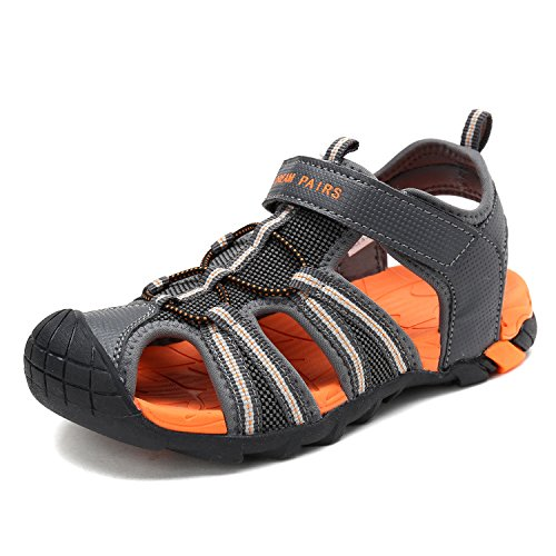 (DREAM PAIRS Little Kid 170813-K DK.Grey Orange Outdoor Summer Sandals Size 1 M US Little Kid)