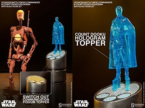 Sideshow Star Wars Geonosis Commander Battle Droid and Count Dooku Hologram 1/6 Scale 12
