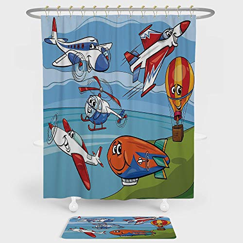 iPrint Kids Shower Curtain Floor Mat Combination Set Airplane Cartoons Toy Planes Jets Helicopter Hot Air Balloon Aircraft Ship Party Decorations decoration daily ()