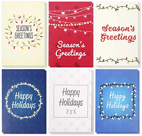 36-Pack Merry Christmas Greeting Cards Bulk Box Set - Winter Holiday Xmas Greeting Cards with Colorful Festive Light Designs, Envelopes Included, 4 x 6 ()