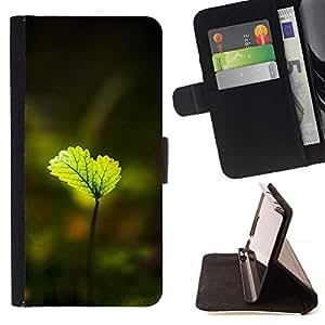 For Samsung Galaxy Note 5 5th N9200 Case , Hojas verdes brillantes- la tarjeta de Crédito Slots PU Funda de cuero Monedero caso cubierta de piel