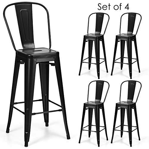 COSTWAY Metal Bar stools Set of 4, with Removable Back, Cafe Side Chairs with Rubber Feet, Stylish and Modern Chairs, for Kitchen, Dining Rooms, and Side Bar (Black-Update, 30'') (Bar Outdoor Stools Restaurant)