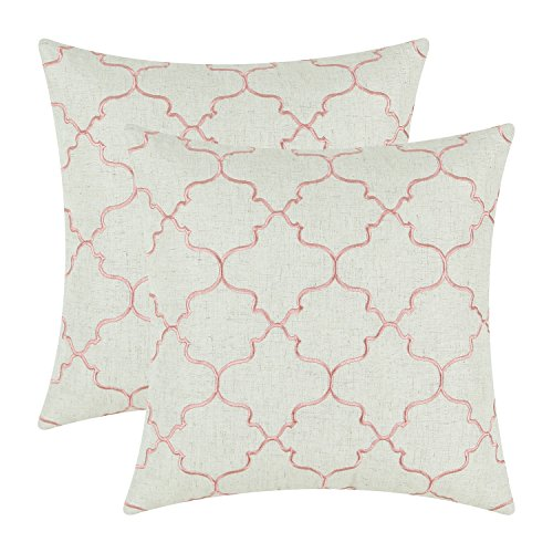 oft Throw Pillow Covers Cases for Couch Sofa Bed, Vintage Quatrefoil Trellis Geometric Embroidered, 17 X 17 Inches, Coral Pink (Coral Trellis)