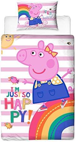 Polyester-Cotton Peppa Pig Hooray Design 4in1 Junior Toddler Cot Duvet Cover Set Bundle Bedding Pink