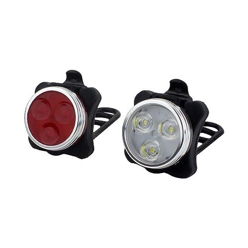 Kobwa Ensemble Imperméable à L'eau de Vélo de LED, Combinaisons Rechargeables de Feu Arrière de Phare D'USB LED Ensemble Léger de Bicyclette - 4 Options de Mode Léger, Batterie Au Lit