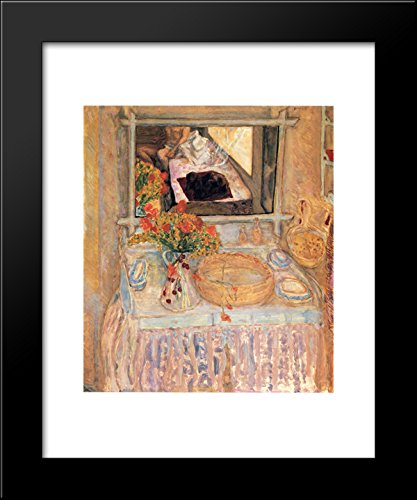 Toilet with a bouquet red and yellow 20x24 Framed Art Print by Bonnard, Pierre
