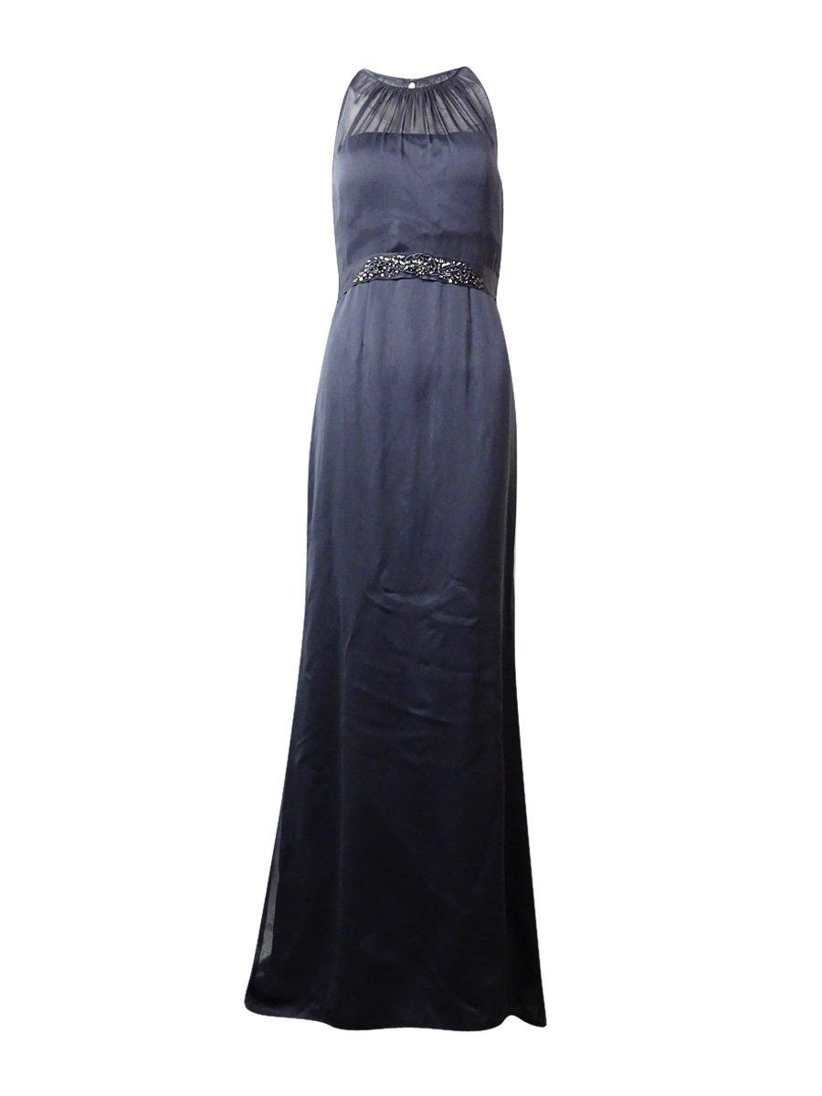 Adrianna Papell Women's Beaded Belt Halter Mermaid Gown (12, Gunmetal)