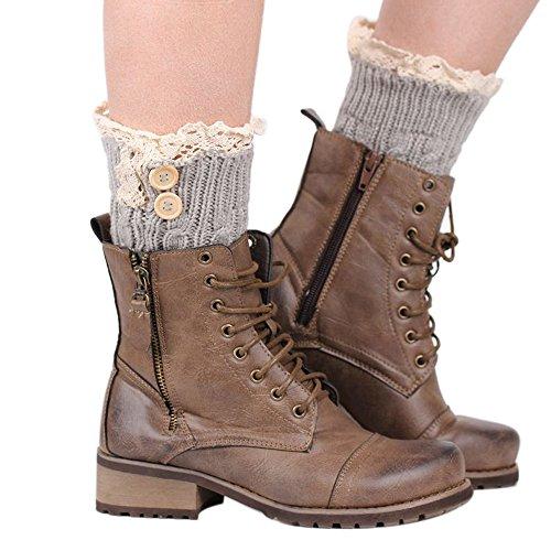 LIULIULIU1 Pair Womens Lace Twist Button Stretch Boot Cuffs Leg Warmers Socks Topper Cuff (Silver)