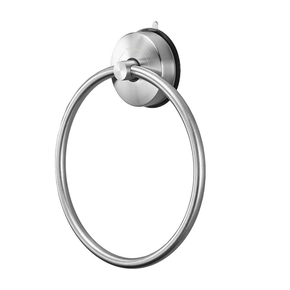 Yohom SUS 304 Stainless Steel Vacuum Suction Cup Round Towel Ring Holder for Bathroom & Kitchen Storage,Modern Shower Dish Towel Ring Hanger-No Tools Required,Brushed Finish