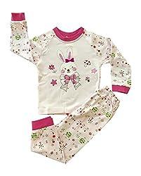 Criket Baby Girls 2 Piece Soft and Light Bunny 100% Korean Cotton Pajama Set 48M Pink