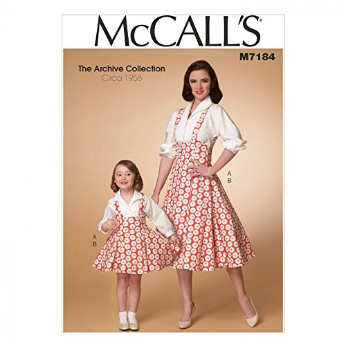 Girls Pinafore Pattern - McCalls Ladies & Girls Sewing Pattern 7184 Vintage Style Blouse & Pinafore Dress