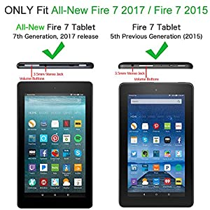 Fintie Shock Proof Case for all-new Fire 7 Tablet (7th Generation, 2017 Release) - Kiddie Series Light Weight Convertible Handle Stand Kids Friendly Cover, Blue