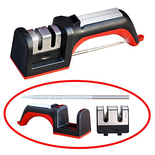 Knife Sharpener, Meiso Multifunction Two Stages Diamond Cera